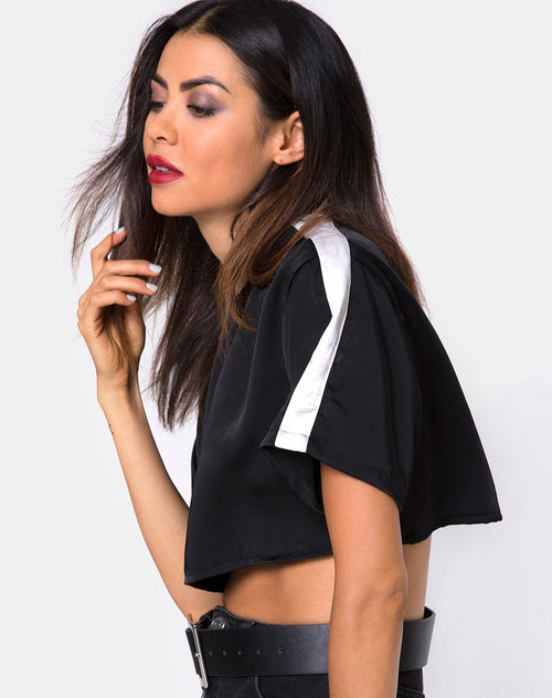 Jiho Crop Top in Black with Ivory Stripe by Motel