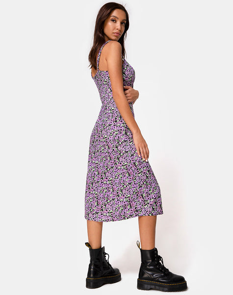 Jova Midi Dress in Lilac Blossom by Motel