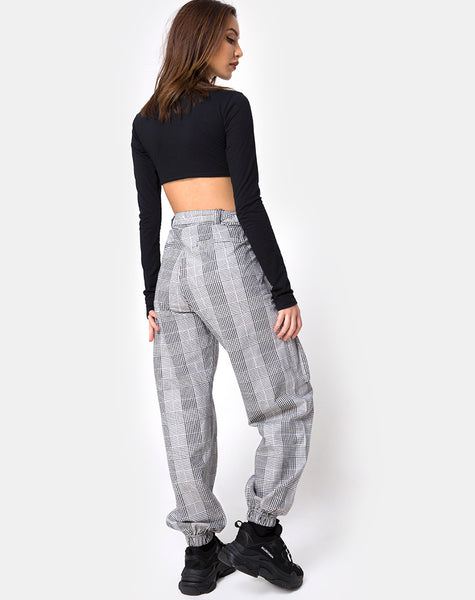 Jubie Cargo Trouser in Charles Check Grey by Motel
