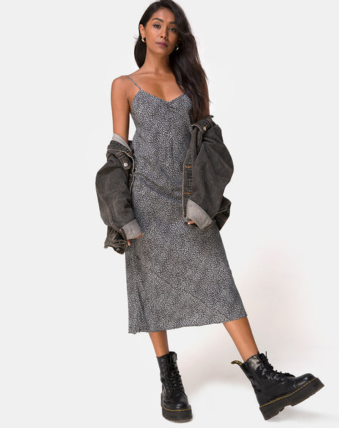Julia Dress in Ditsy Leopard Grey by Motel