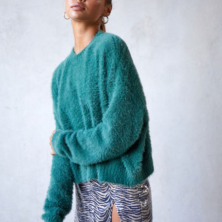 Margo Jumper in Knit Forest Green by Motel