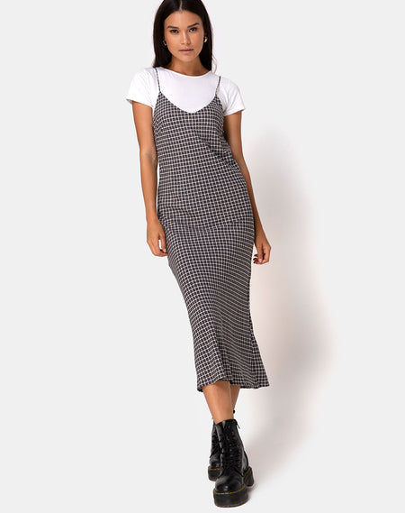 Kaoya Dress in Check Green Black by Motel