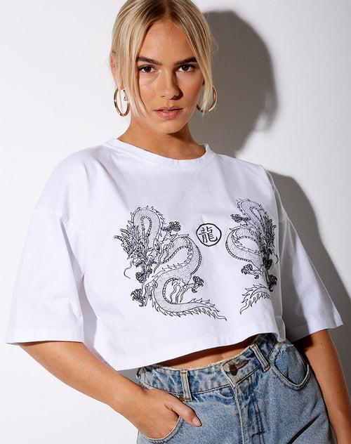 Kai Tee in White Yin Yang Dragon Embro