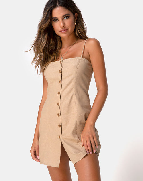 Kaira Slip Dress in Taupe by Motel
