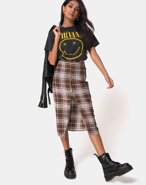 Kaisa Midi Skirt in Tartan Brown by Motel