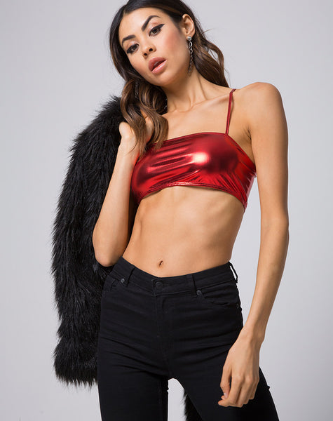 Kala Crop Top in Metallic Shimmer Rust by Motel