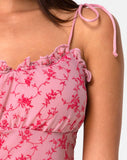 Kalsi Top in Love Bloom Pink Flock by Motel