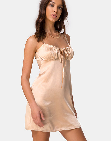 Paiva Slip Dress in Satin Cherry by Motel