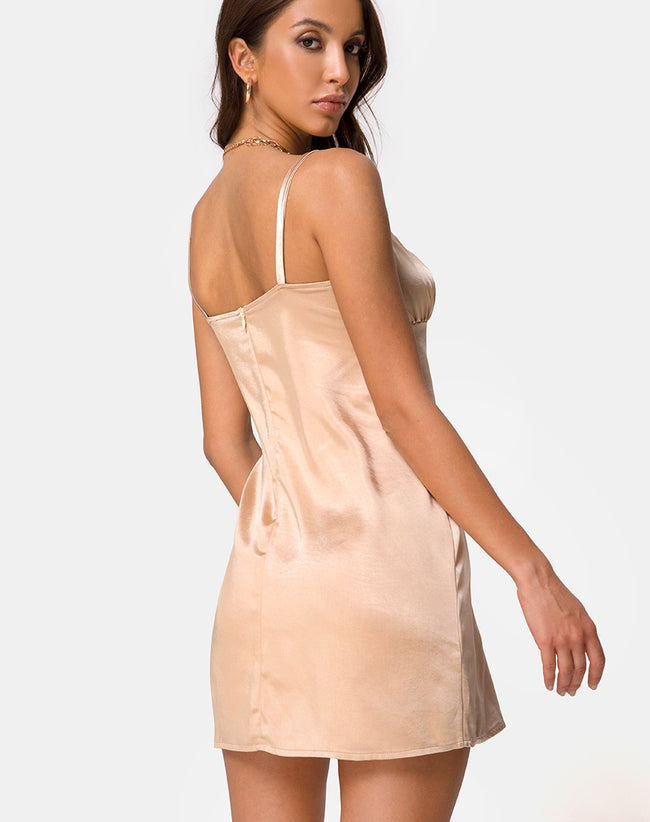 Kamalia Slip Dress in Satin Champagne by Motel
