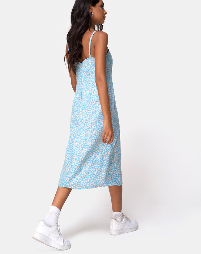 Kaoya Midi Dress in Ditsy Rose Blue by Motel