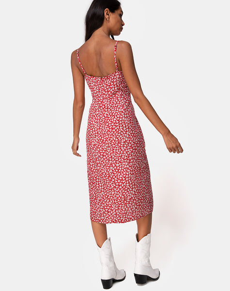 Kaoya Midi Dress in Ditsy Rose Red by Motel