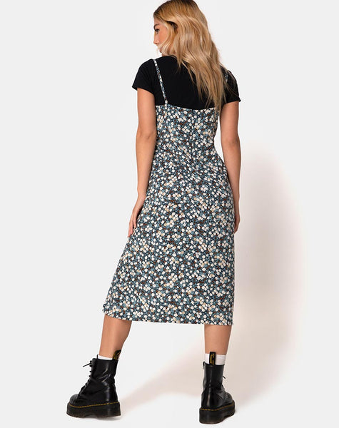 Kaoya Dress in Floral Field Navy by Motel
