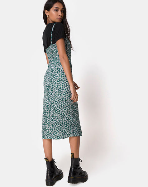 Kaoya Midi Dress in Floral Bloom Green by Motel