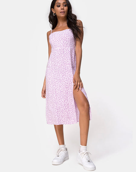 Paloma Midi Dress in Flock Ditsy Leopard Taupe by Motel