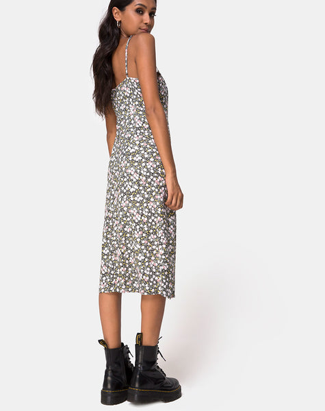 Kaoya Midi Dress in Floral Field Olive