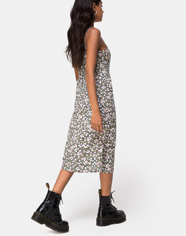 Kaoya Midi Dress in Floral Field Olive by Motel