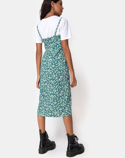 Kaoya Midi Dress in Floral Field Green by Motel