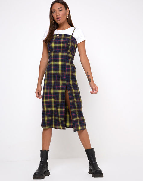 Kaoya Dress in Plaid Brown Yellow Check