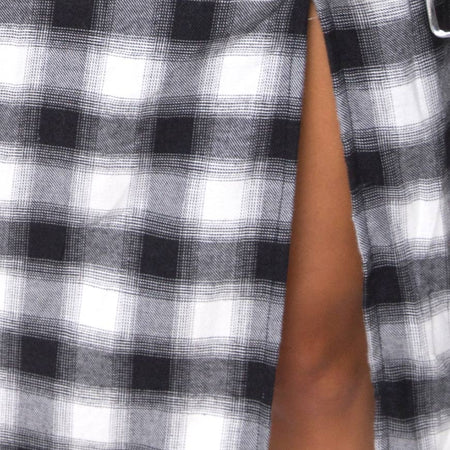 Kaoya Dress in Plaid Black White