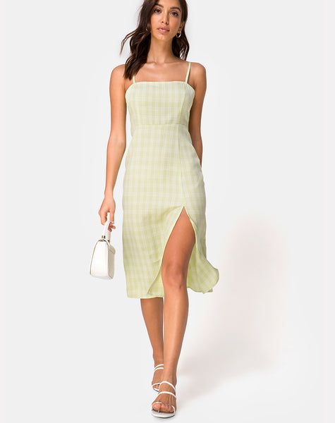 Kaoya Midi Dress in Sage Check by Motel