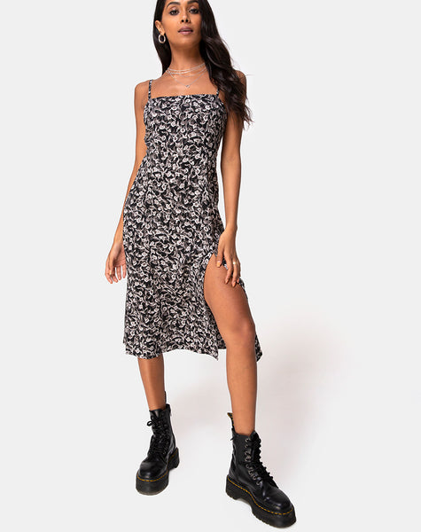 Kaoya Midi Dress in Wild Tulip Black by Motel