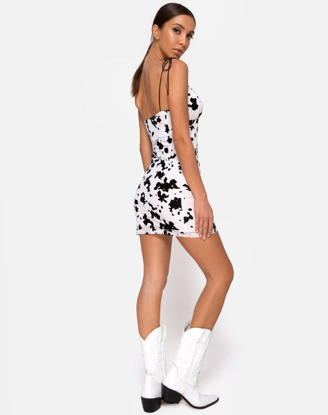 Karlia Mini Dress in Flock Dalmation Black and White by Motel