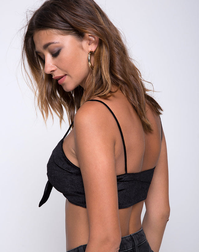 Kasen Bralet in Velvet Black by Motel