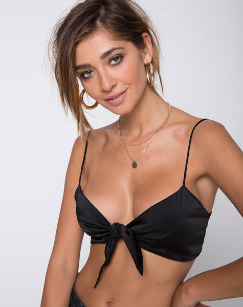 Kasen Bralet in Satin Black by Motel