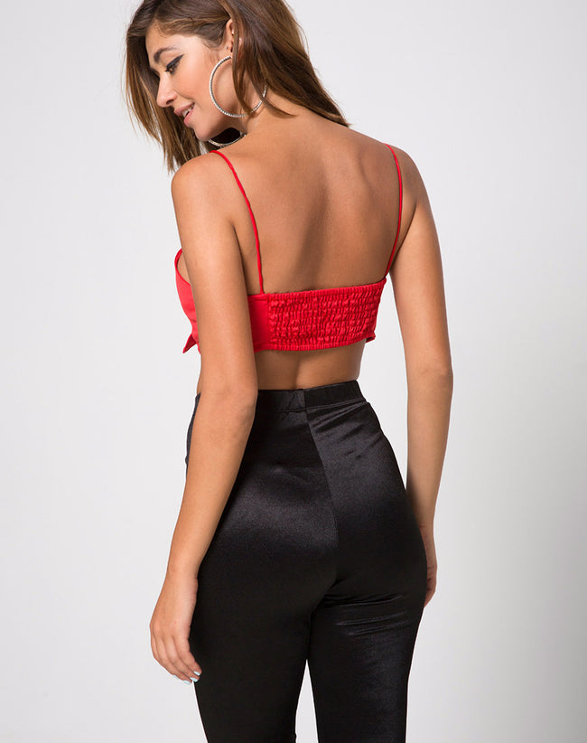Kasen Bralet in Satin Red by Motel