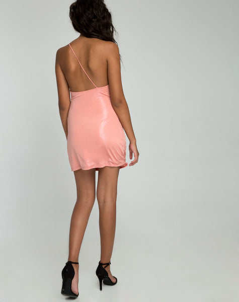 Kate Slip Dress in Peach Blush Pearlescent Shimmer by Motel