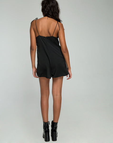 Katsma Strappy Playsuit in Satin Black by Motel