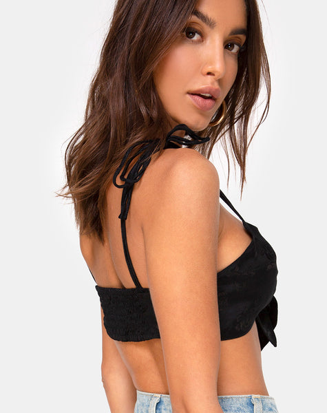 Kave Bralet Top in Satin Rose Black by Motel