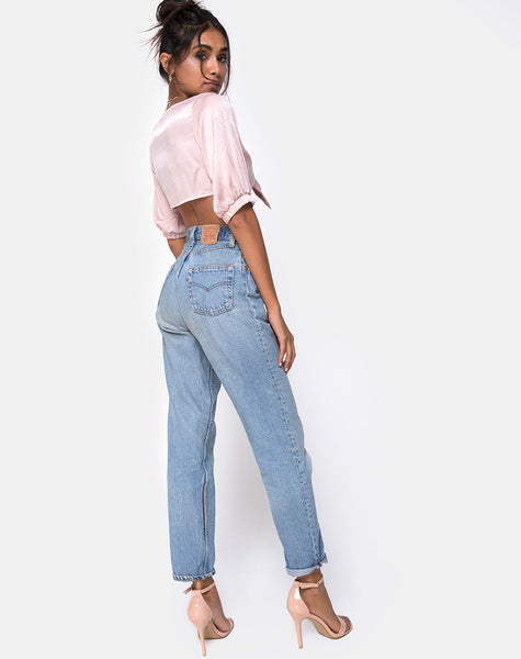 Kavida Crop Top in Satin Dusty Rose by Motel