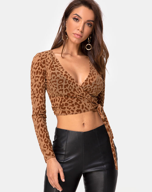 Kayak Wrap Top in Animal Flock Tan Brown by Motel