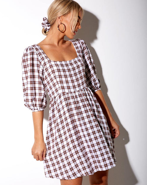 Kezie Dress in Checkmate Brown