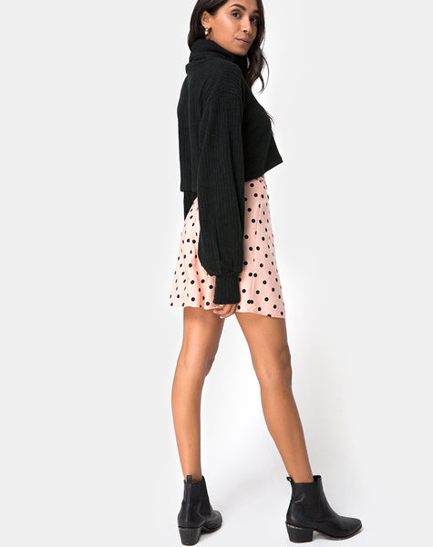 Khabel A-Line Skirt in New Polka Nude Black by Motel