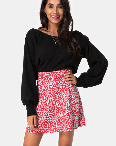 81eed8a82d Kheb A-line Skirt in Ditsy Rose Red and Silver by Motel – motelrocks.com