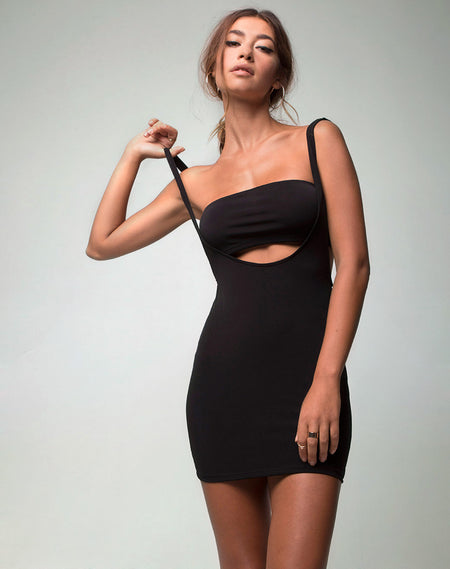 Azzie Bodycon Dress in Black by Motel