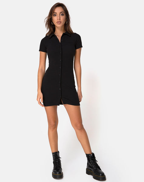Kia Dress in Black Rib by Motel