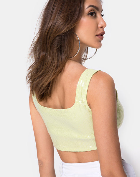 Kim Crop Top in Pistachio with Clear Sequin by Motel