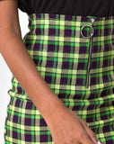 Kimber Bodycon skirt in Green and Purple Check by Motel