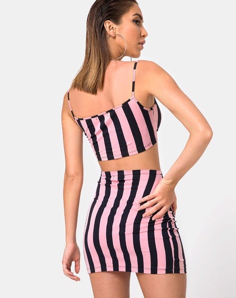 Kimmy Bodycon Skirt in Campbell Stripe