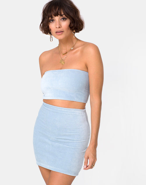Kimmy Mini Skirt in Fluffy Knit Baby Blue by Motel