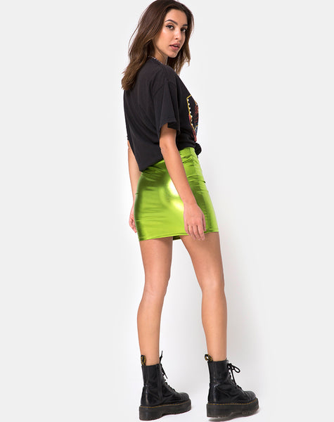 Kimmy Skirt in Metallic Green by Motel