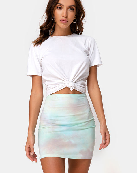 Kimmy Mini Skirt in Pastel Tie Dye by Motel