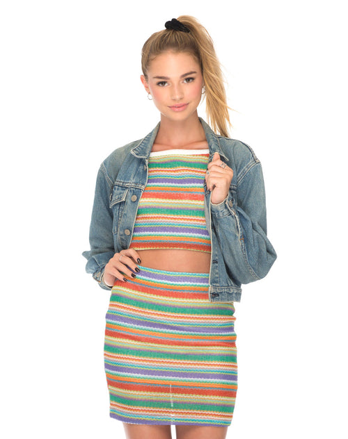 Kimmy Bodycon Skirt in Rainbow Knit by Motel