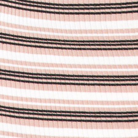 Kimmy Bodycon Skirt in Rib Stripe Cream Black and Tan