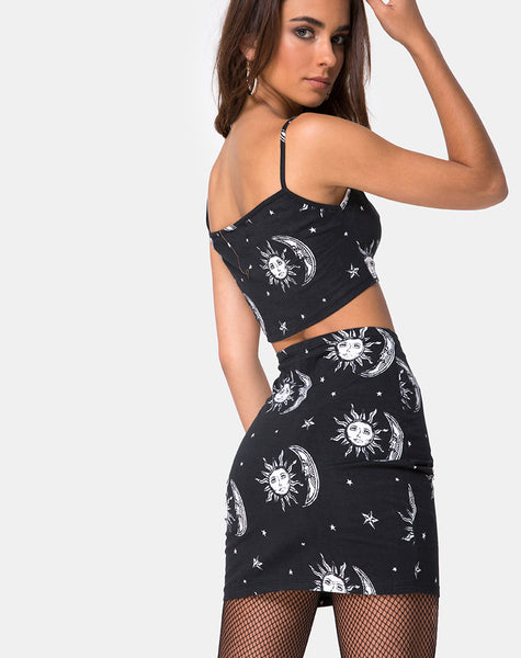 Kimmy Bodycon Skirt in Sun Moon Stars BW by Motel