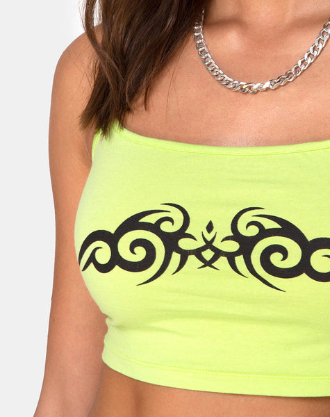 Kini Crop Top in Green with Black Tribal Placement by Motel