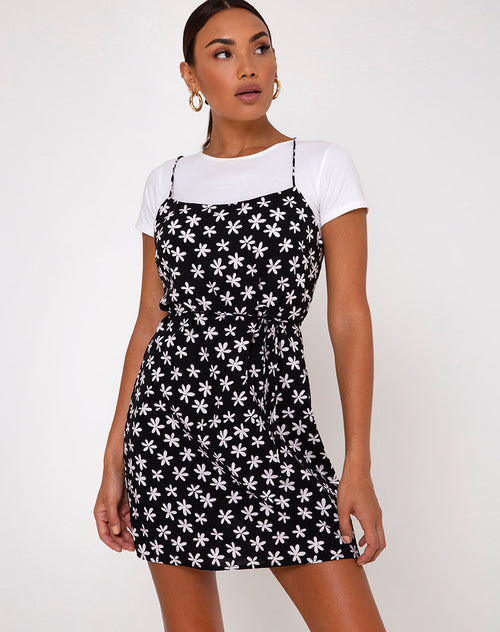 Kinley Slip Dress in 90's Daisy Black and White